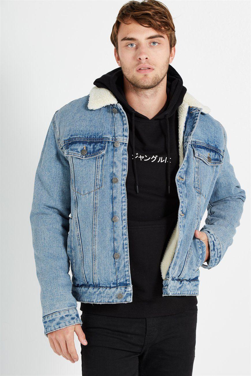 Borg Denim Jacket Men S Fashion Borg Denim Jacket Jackets Men Fashion Sherpa Lined Denim Jacket [ 1305 x 870 Pixel ]