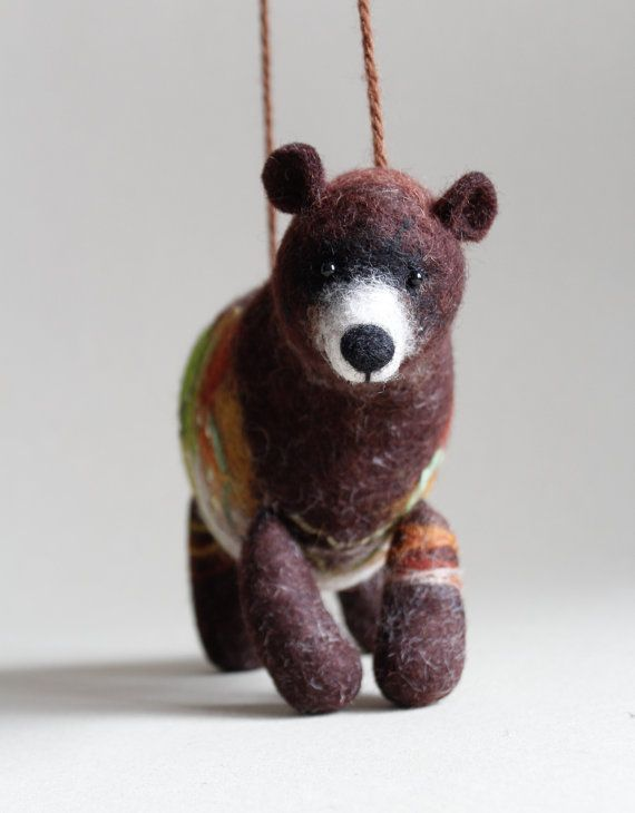 Art Toy Felt  Bear Grisha Puppet Grizzly bear kids gift Marionette  Woodland plush Stuffed  Animal Felted Toys animals green. brown