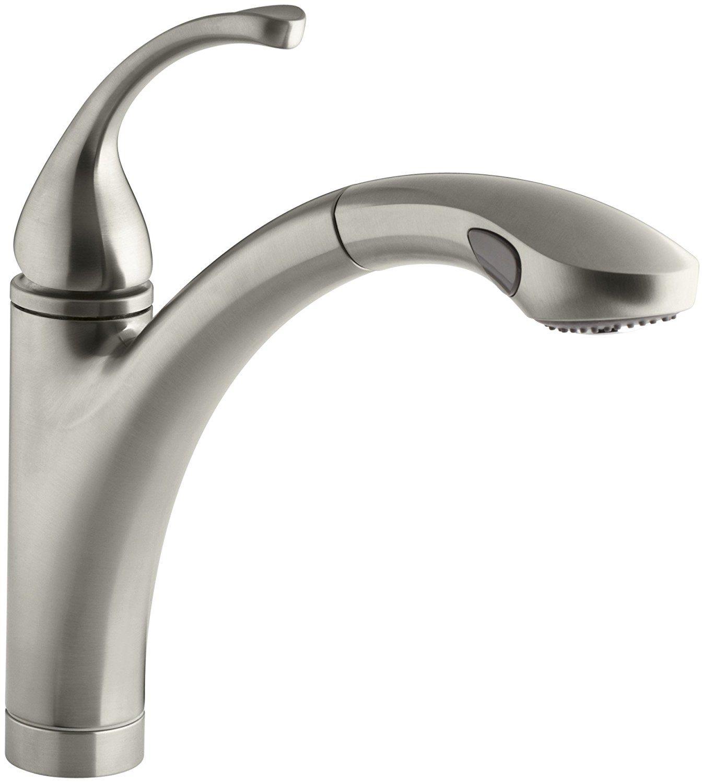 KOHLER K-10433-BN Forte Single Control Pullout Kitchen Sink Faucet ...