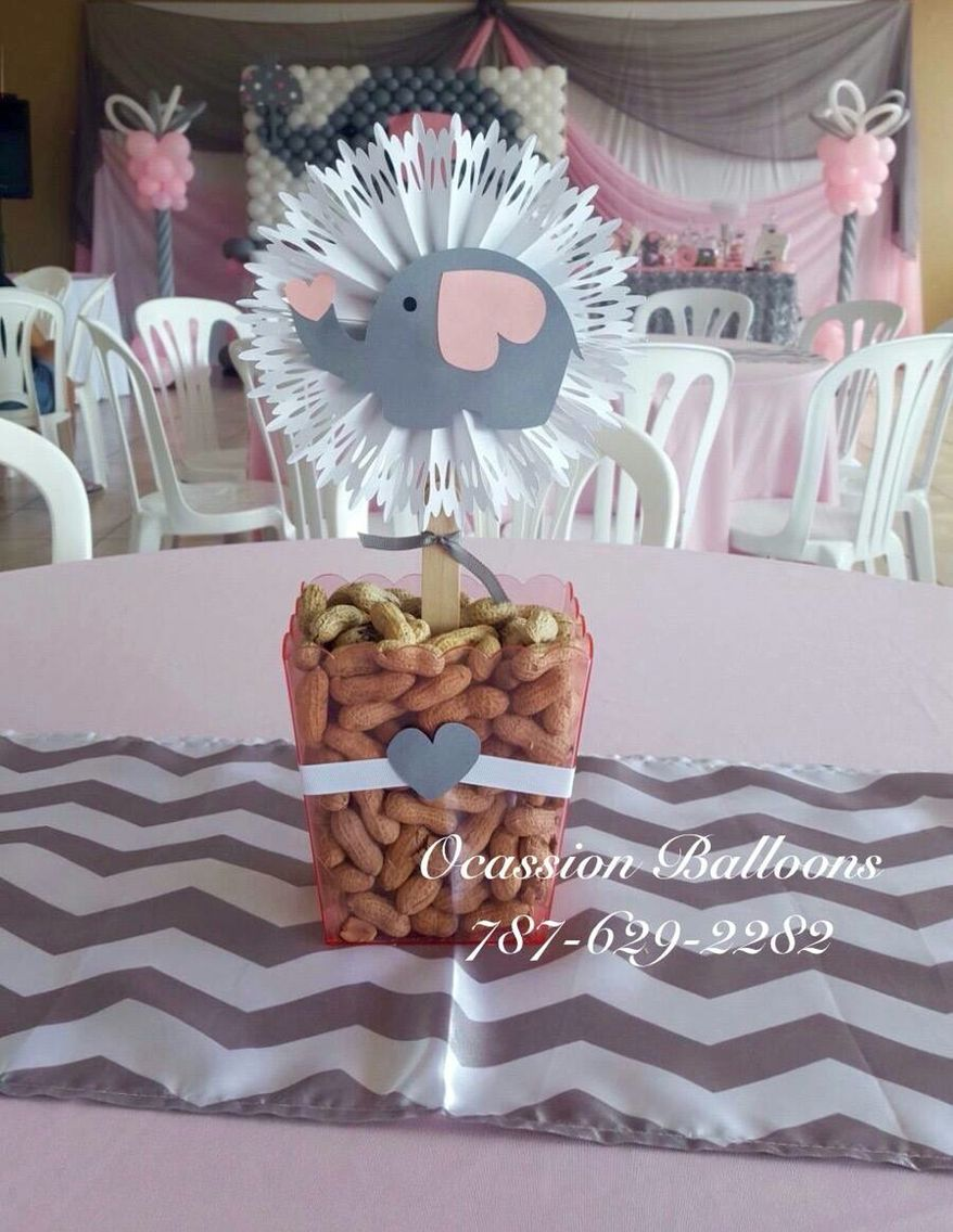 Pink and gray elephant themed centerpiece