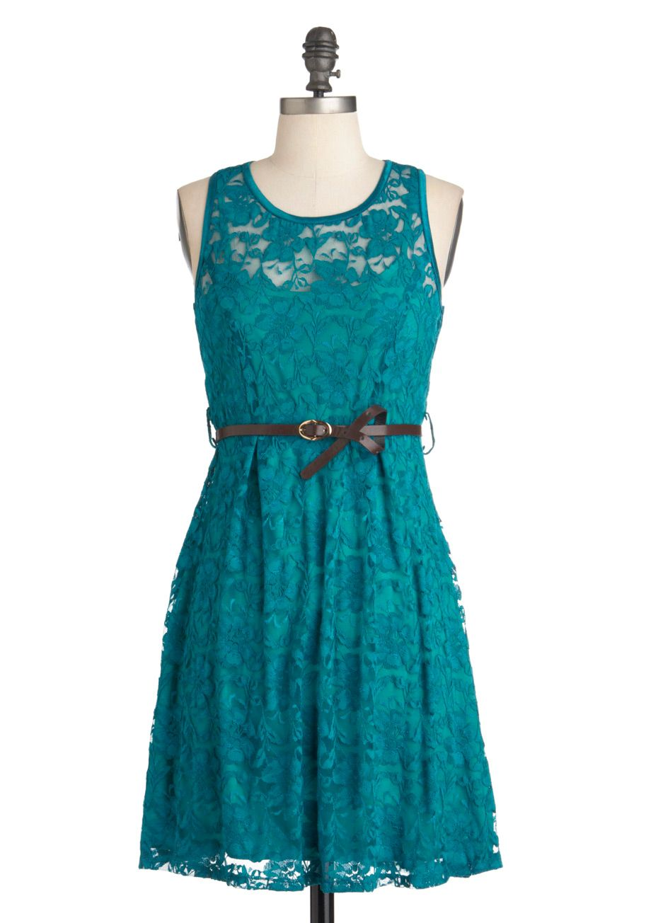 The Teal of the Night Dress - Mid-length, Lace, Party, A-line, Belted, Green, Floral, Sleeveless