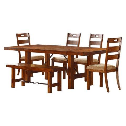 Etna 6-Piece Extendable Dining Set - Rustic Oak