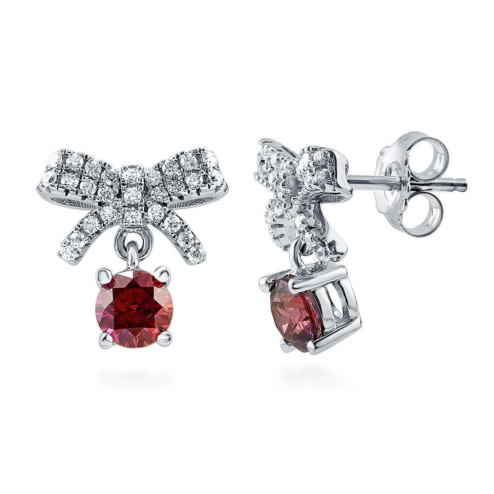 Berricle Sterling Silver Bow Tie Stud Earrings Made With Swarovski Zirconia