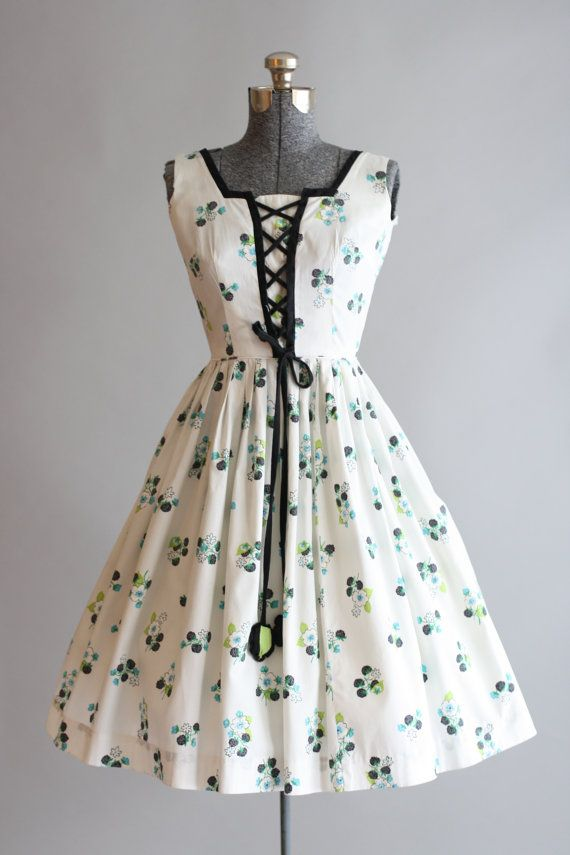 fa21383be463 Vintage 1950s Dress   50s Cotton Dress   Vicky Vaughn White Floral Dress w   Corset Ties