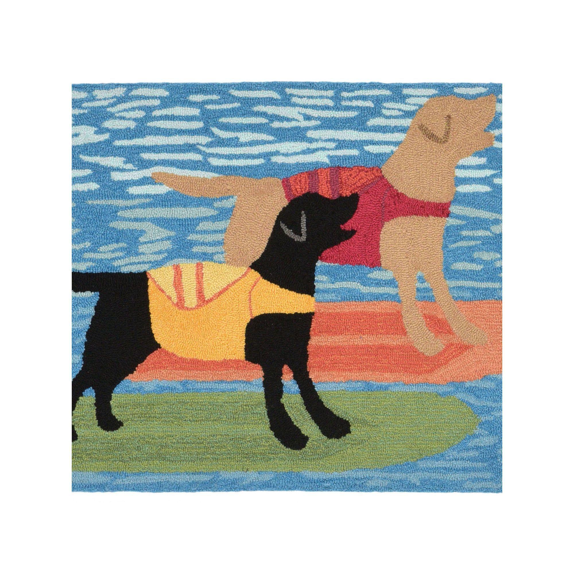 Liora Manne Front Porch Surfboard Dogs Indoor Outdoor Rug Indoor