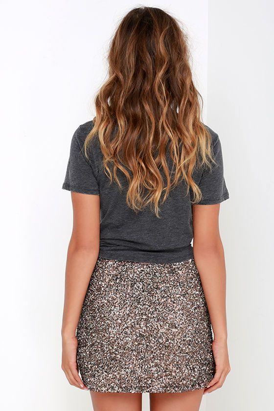 0d04736b90 Billabong Showin' Off Bronze Sequin Skirt   Sassy   Skirts, Sequin ...