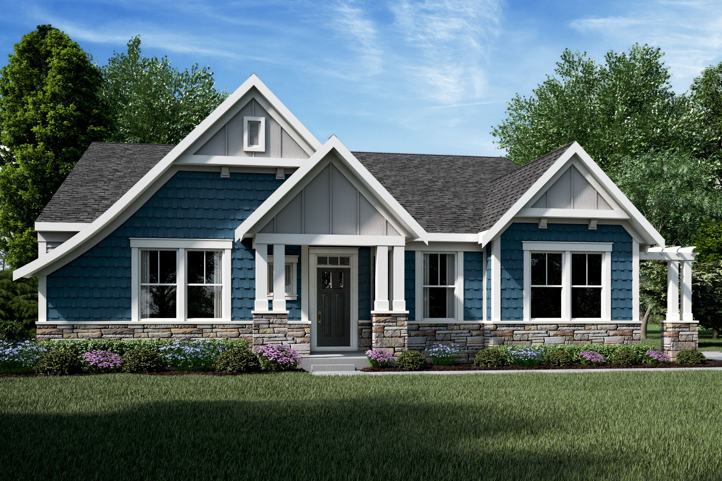 Fischer Homes Bayberry Coastal Classic Ranch Floorplan Franklin Homes House Exterior New Homes