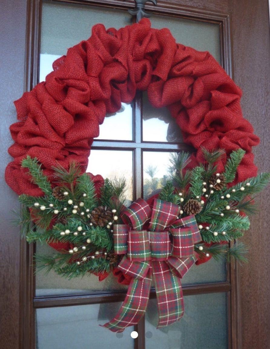 Red Burlap Christmas Wreath Red Burlap Christmas