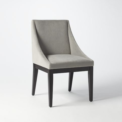 Curved Upholstered Chair, Performance Velvet, Dove Gray, Chocolate ...