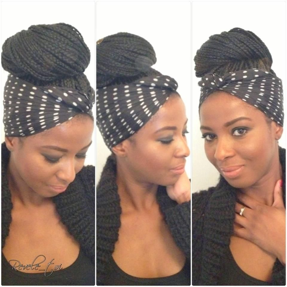 Box Braids Large Bun With Scarf Tied Around Cool Hair