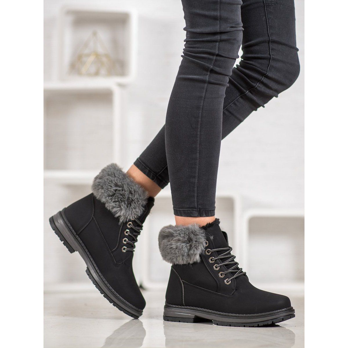 Botki Damskie Shelovet Shelovet Czarne Trapery Z Futerkiem Wedge Sneaker Shoes Fashion