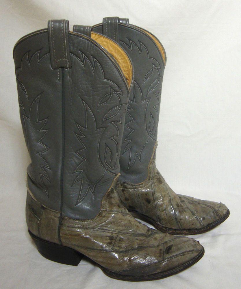 f24e578955d Tony Lama Boots Exotic EEL Skin Leather Gray Olive Cowboy Western ...