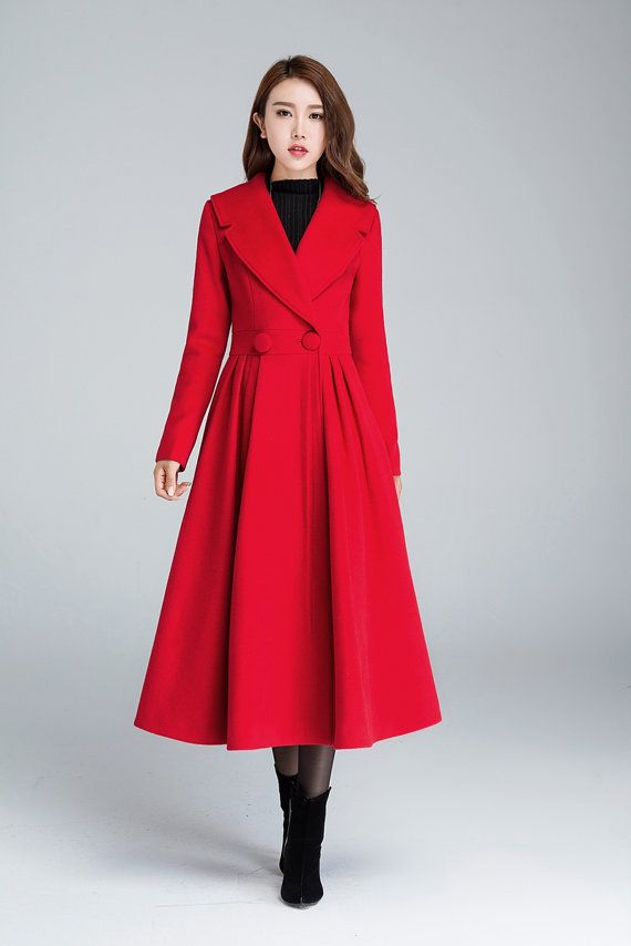 red coat, wool jacket, pleated coat, elegant coat, long coat, warm ...