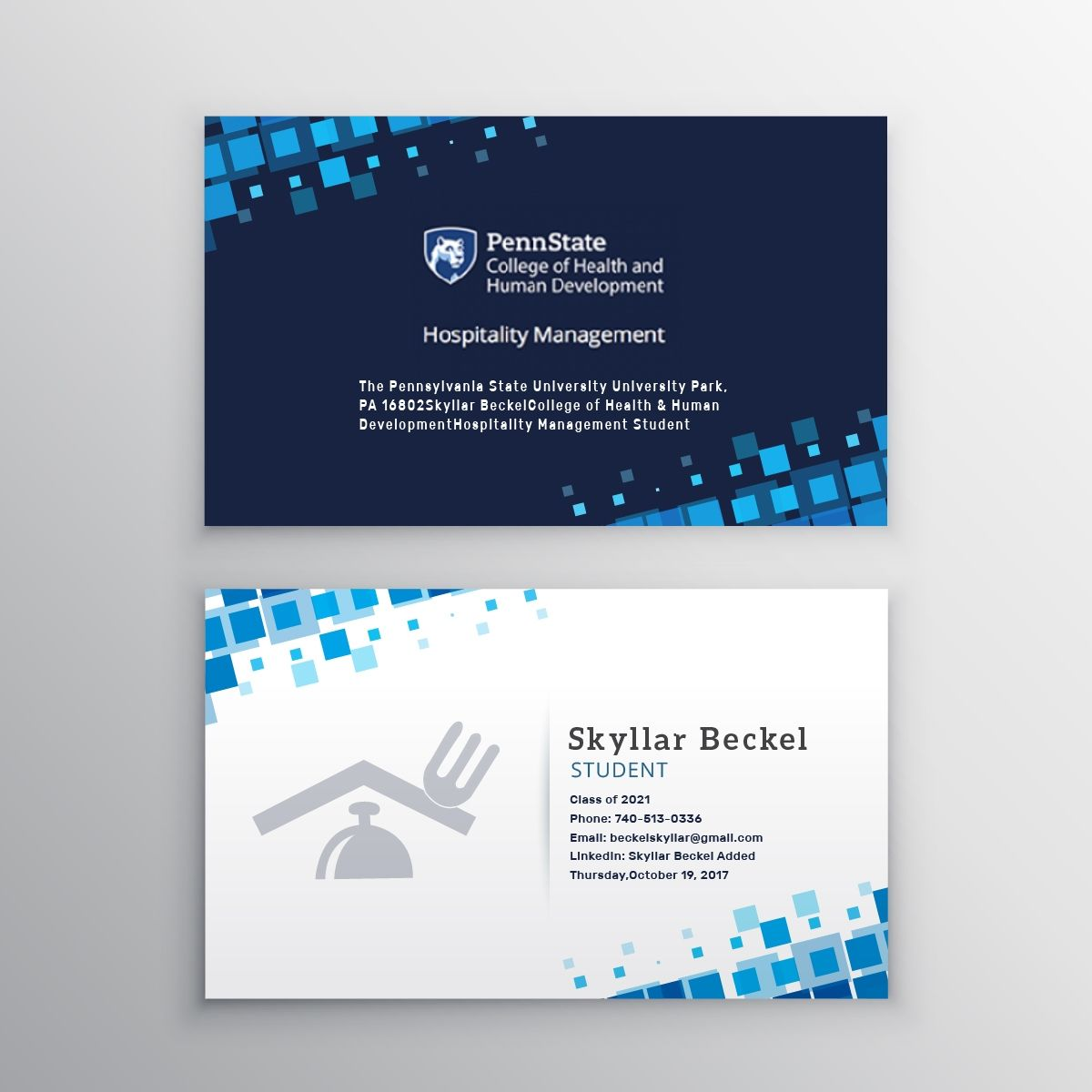 College Student Business Card Example Gallery Examples Of Business Cards Business Card Template Design Student Business Cards