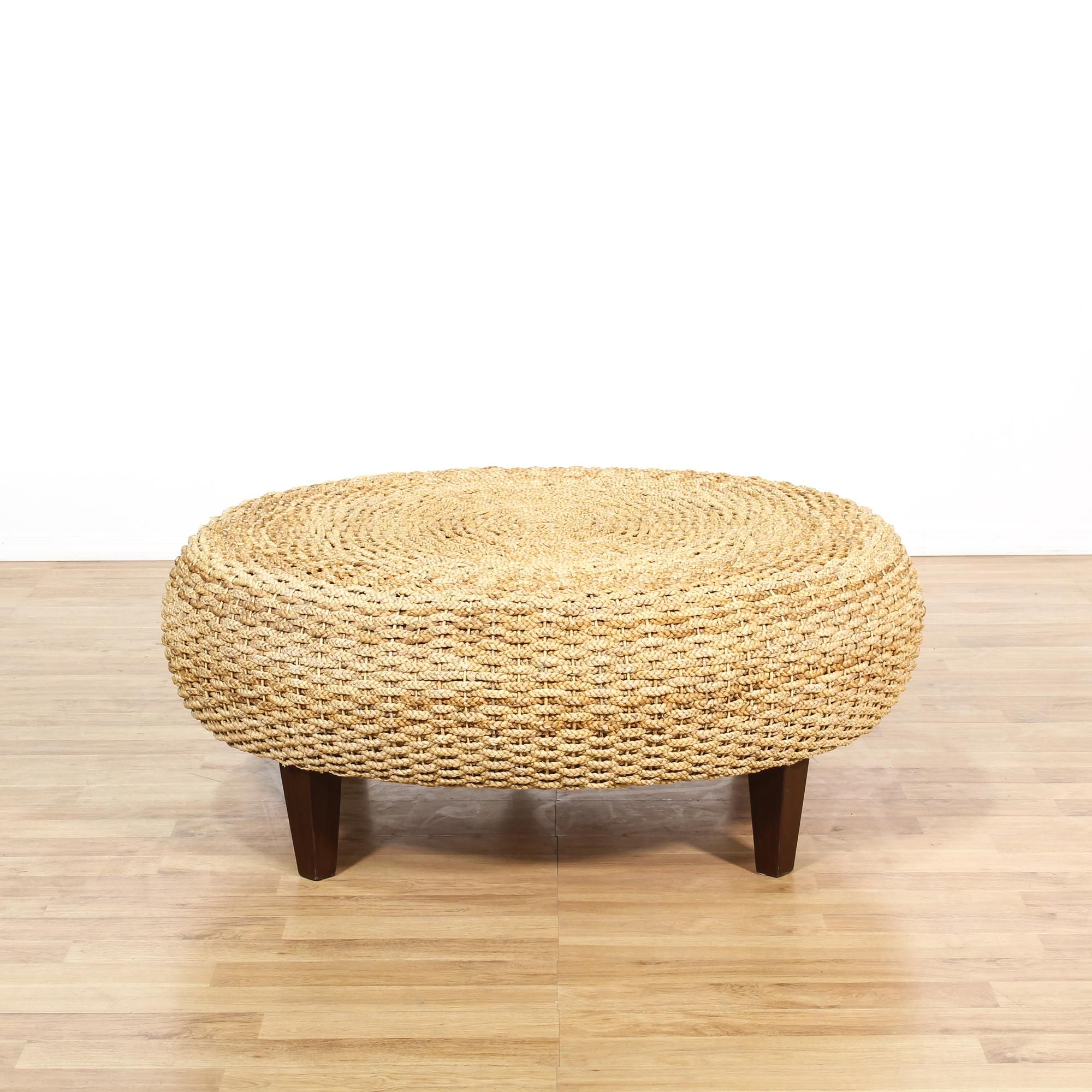 This Low Coffee Table Is Featured In A Durable Synthetic Woven Material This Coastal Style Ottoman Has Sturdy Wooden L Coffee Table Ottoman Coffee Table Table [ 2000 x 2000 Pixel ]