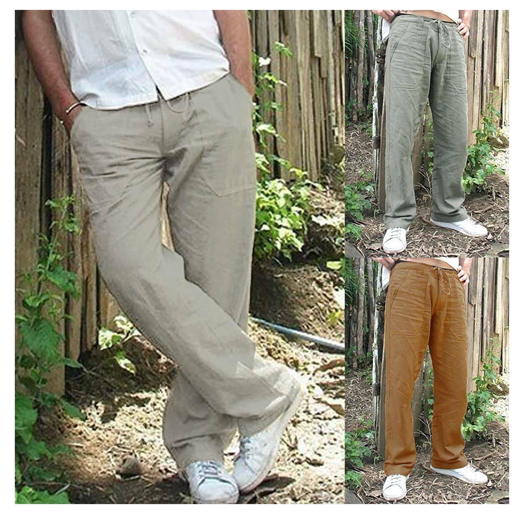 Linen Clothing Summer Pants Yoga Pants Men Linen Fabric Mens Pants Linen Pants Men Linen Pants Yoga Pants Trousers Linen Trousers