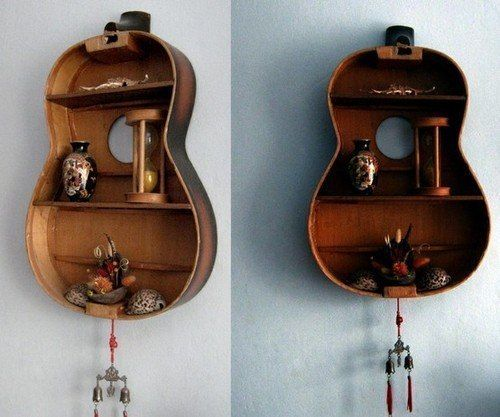 Exceptionnel Old Guitar Crafts | Creative Wall Shelf From Old Guitar Diy Crafts Idea