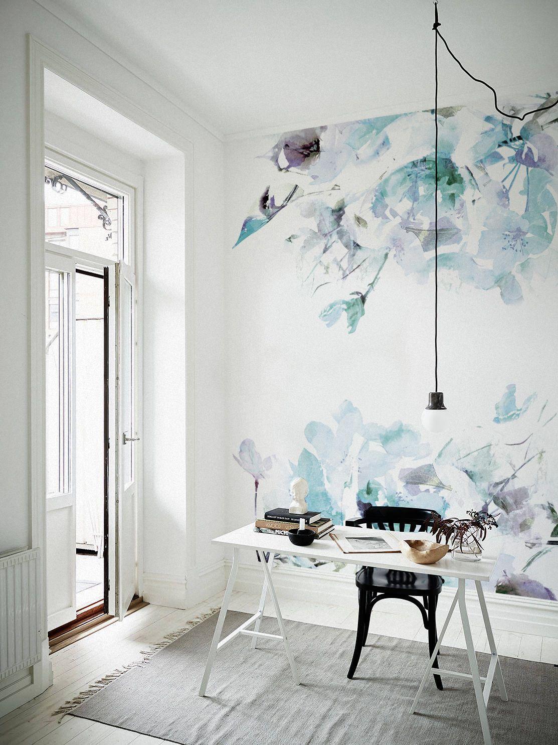 Blue Color Is Always A Good Option Blue Spring Floral Removable Wallpaper Creates A Decoracao Da Parede Do Bercario Aquarela Wallpaper Papel De Parede Floral