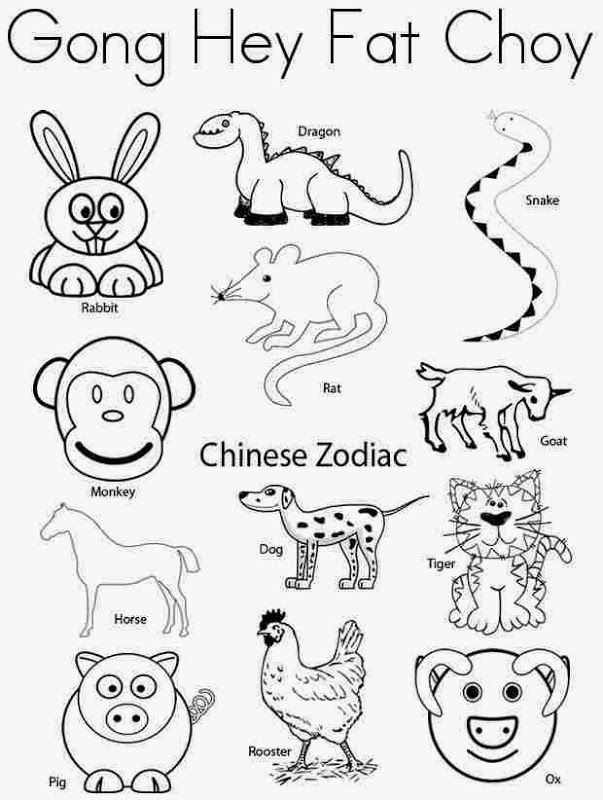 Chinese New Year Animals Coloring Pages Jznbcec   in the school ...
