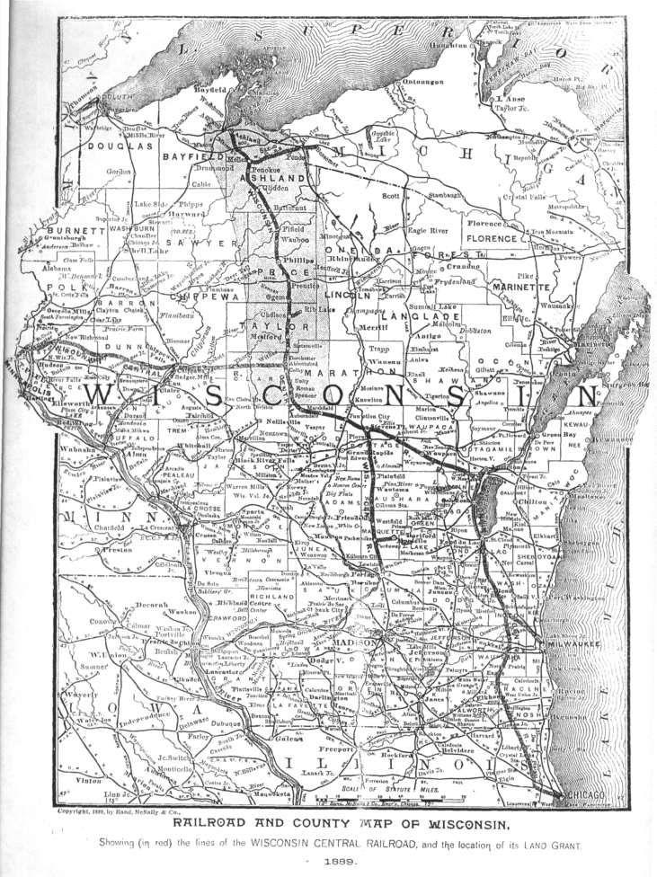 Northernpacificrailroadmaps Railroad Maps Wisconsin - 1889 us railroad map