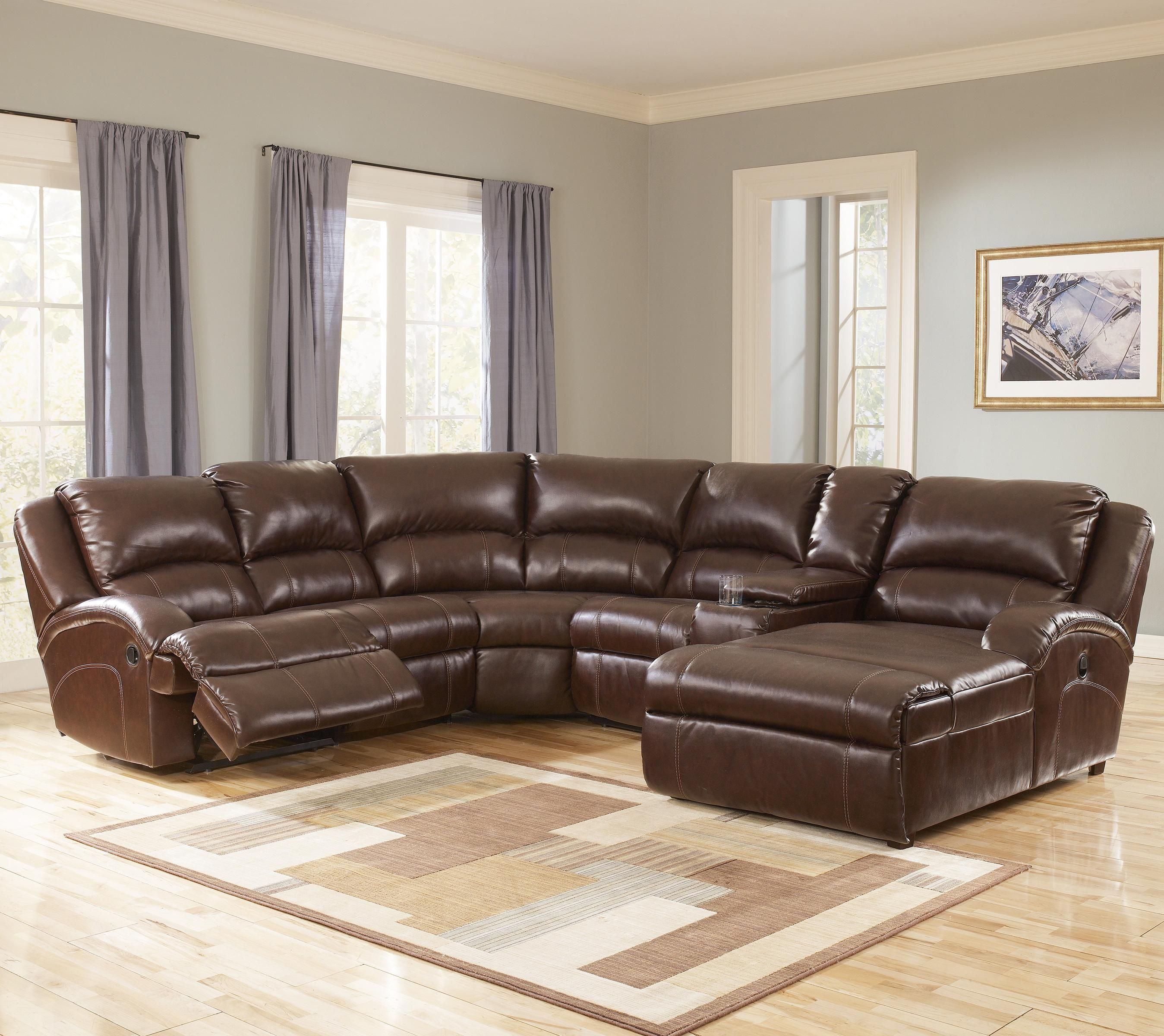 durablend harness leather sectional with recliner and chaise by signature design by ashley prime
