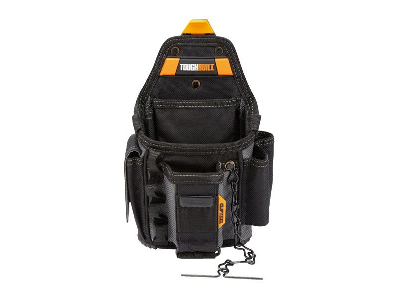 tool holder belt. the toughbuilt small electrician pouch transforms how professional electricians carry their tools. patented cliptech hub allows this to clip on tool holder belt