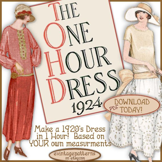 1920\'s 1 HOUR Dress -make Your own frock patterns like Downton Abbey ...