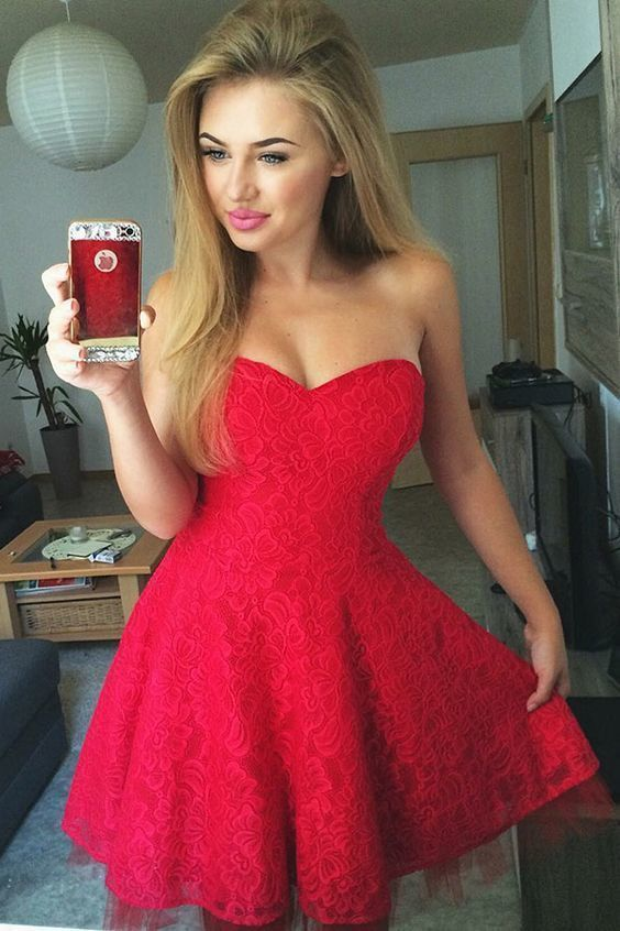 2b64413130 A-Line Sweetheart Sleeveless Short Red Lace Homecoming Dress