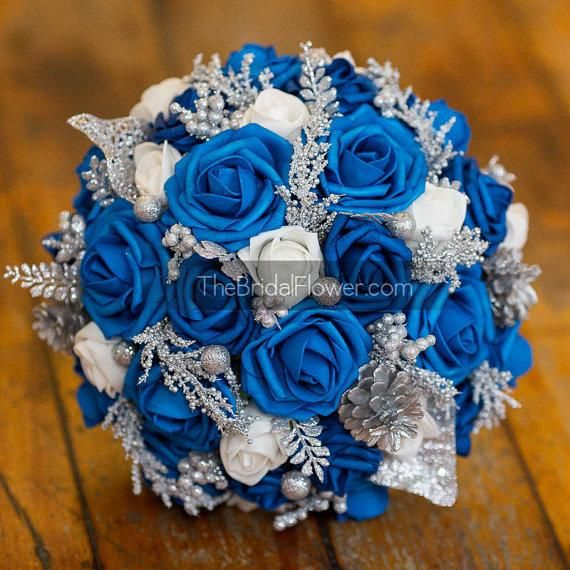 Wedding - Winter wonderland royal blue silver and white bouquet with ...