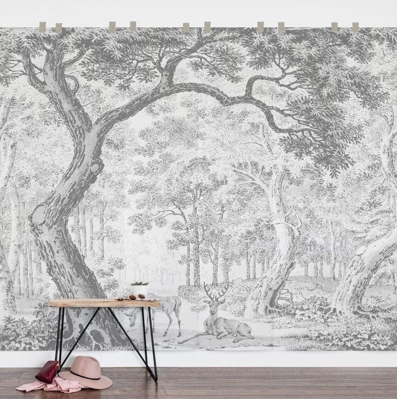 Enchanted Forest Nursery Removable Wallpaper Woodland Retro Etsy Removable Wall Murals Forest Wall Mural Woodland Wallpaper