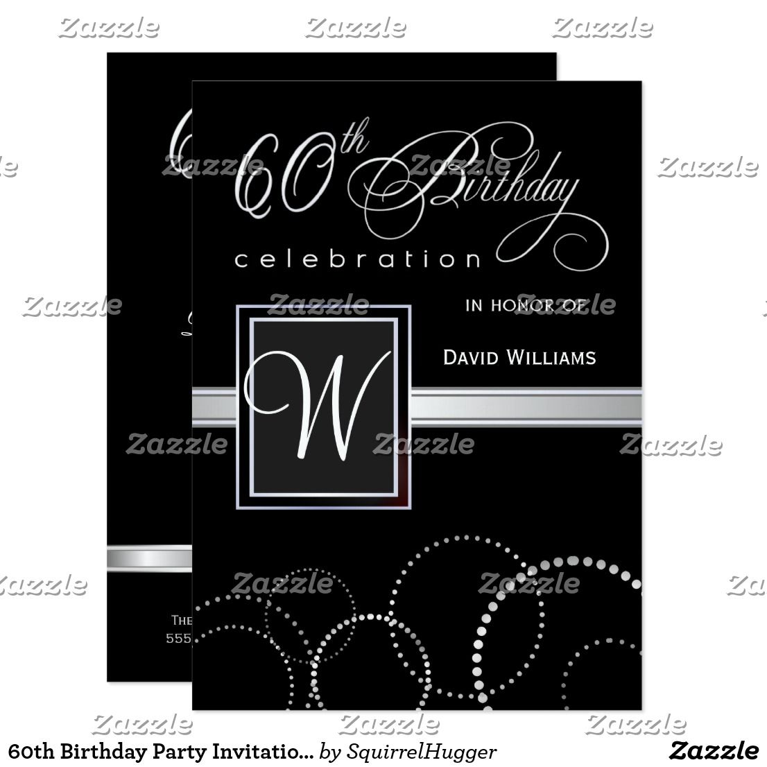 60th Birthday Party Invitations - with Monogram | Birthday Invites ...