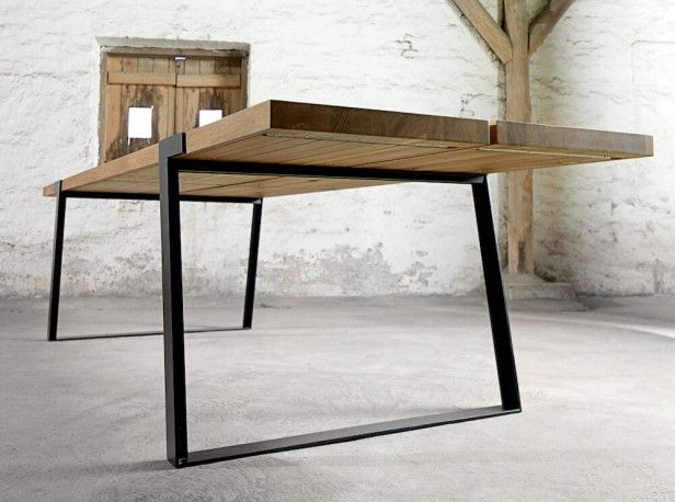 Gigant rustic dining table modern industrial steel for Dining table frame design