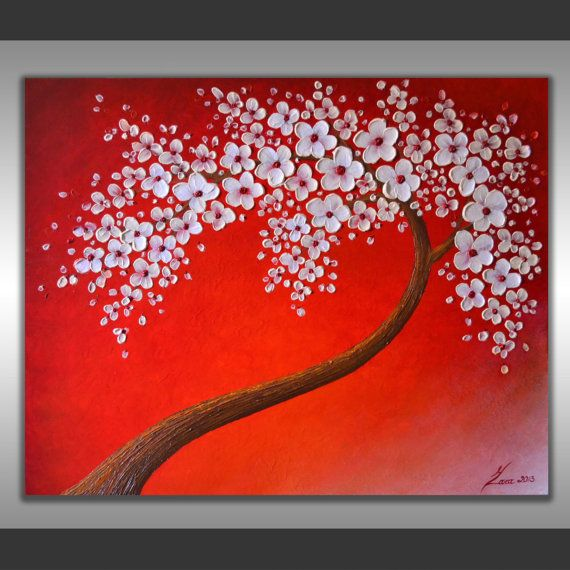Original White Cherry Blossom Tree Impasto Heavy Textured Acrylic Painting Abstract Palette Knife Red Landscape A Cherry Blossom Wall Art Abstract Painting Art