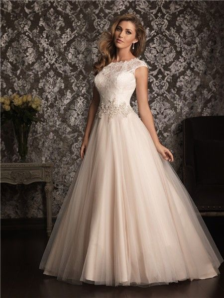 classic ball gown cap sleeve champagne wedding dresses 450x600 ...