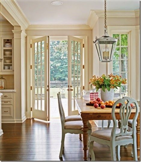 French doors like this to open into a dining room addition for Dining room ideas with french doors