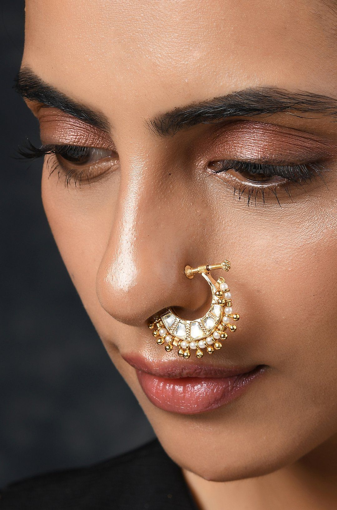 Amara Kundan Nosepin In 2020 Pearls Indian Earrings Gold