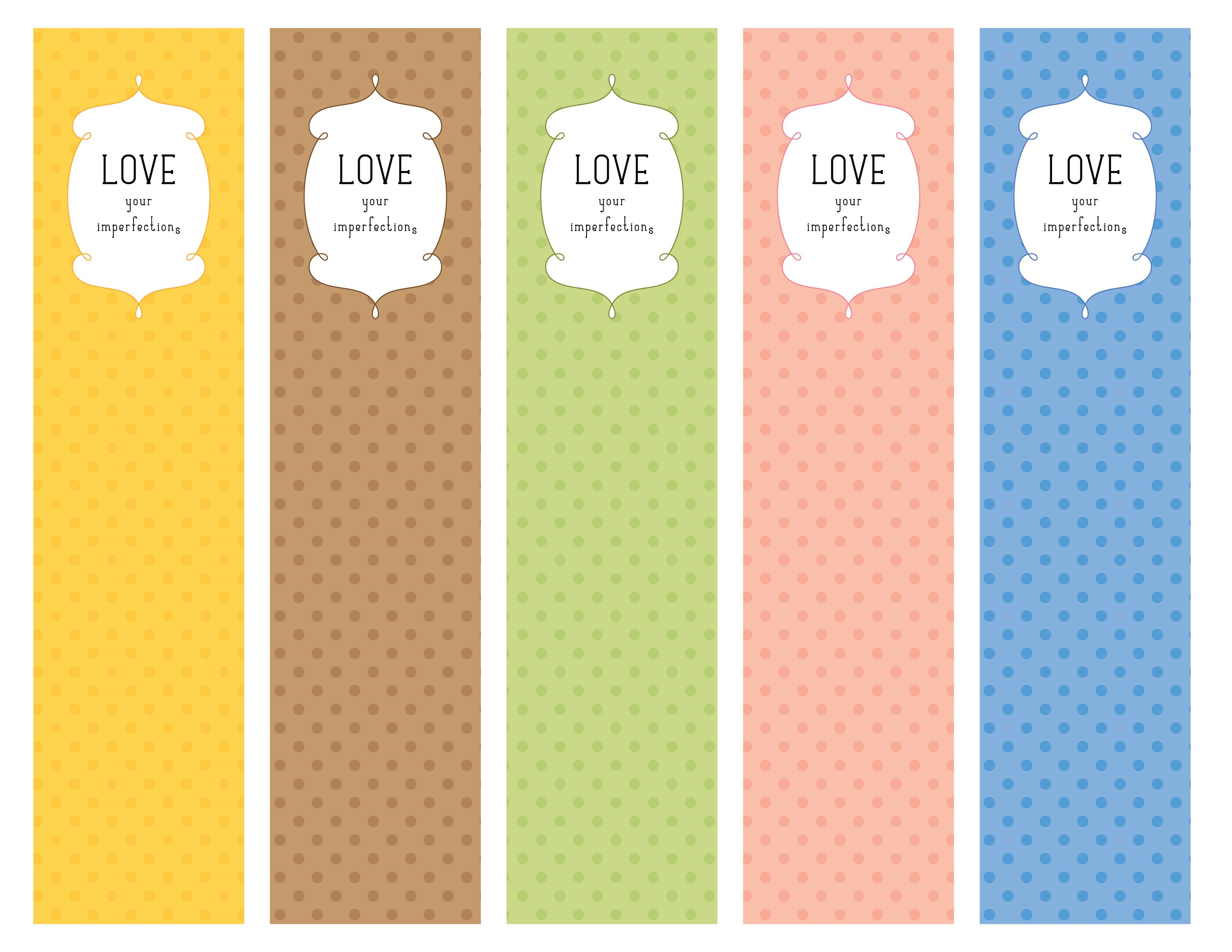 Love your imperfections bookmarks (PDF Printable) | My ...