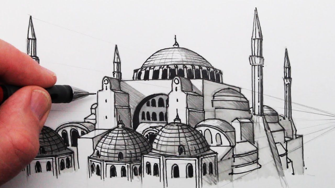 How To Draw The Hagia Sophia Buildings In Perspective Youtube