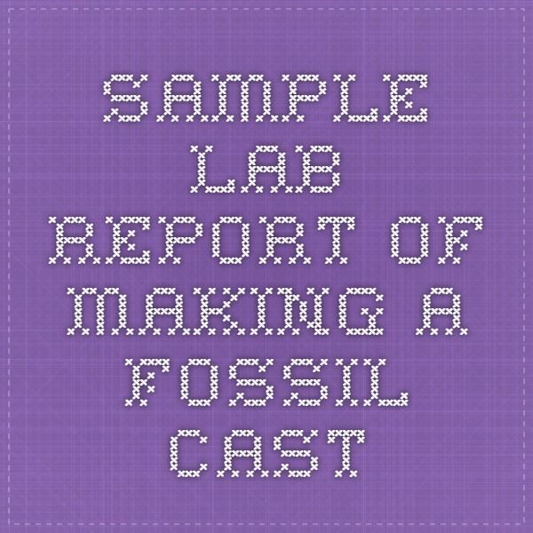 sample lab report of making a fossil cast Apologia General - sample lab report