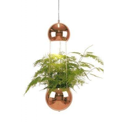 FINN – Globen Planter lampe med blomsterpotte i kobber