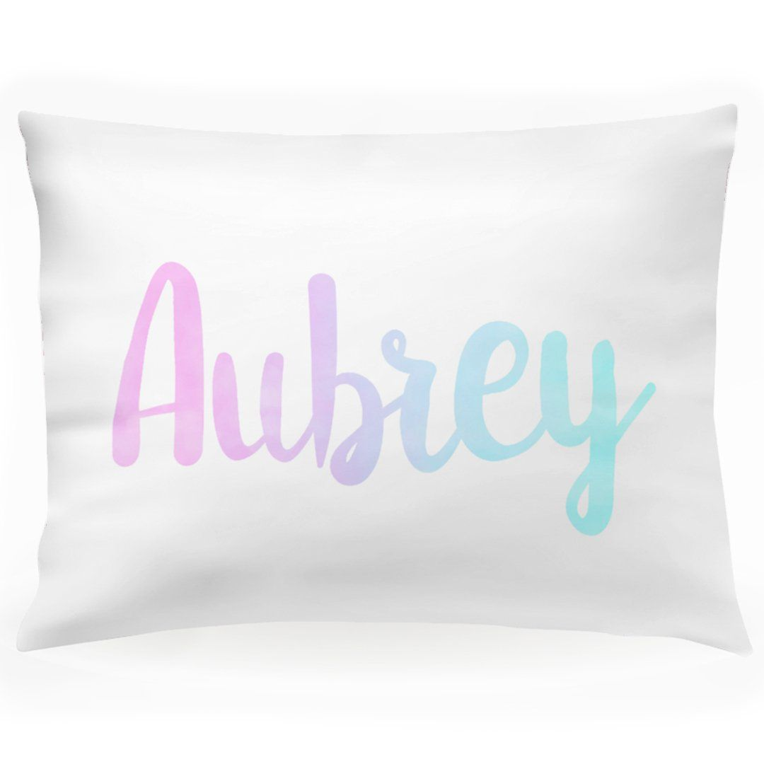 """Personalized Girls Name Pillow Case, Pink Purple and Blue Watercolor 30"""" x 20"""" (P110) images"""