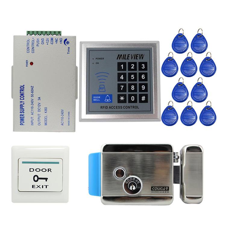 Rfid Door Access Control System Kit Set With Electric Control Door Lock Keypad Keyfobs Unlock Button Access Control Access Control System Electric Lock