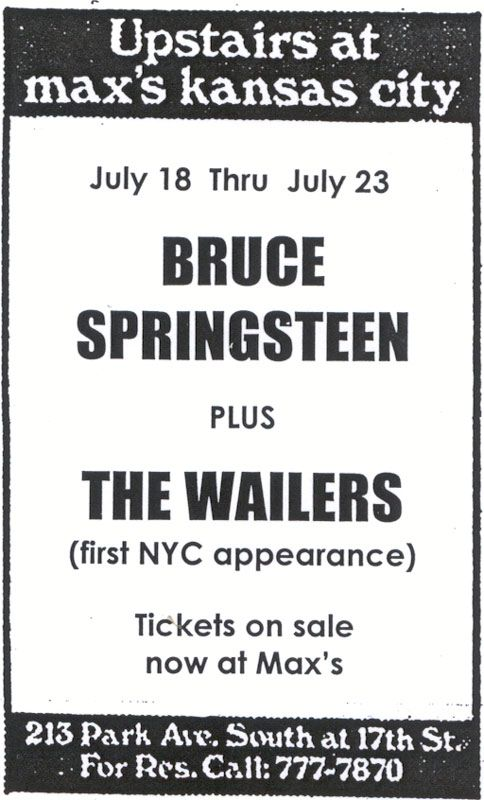 Image result for bruce springsteen max's kansas city 1973