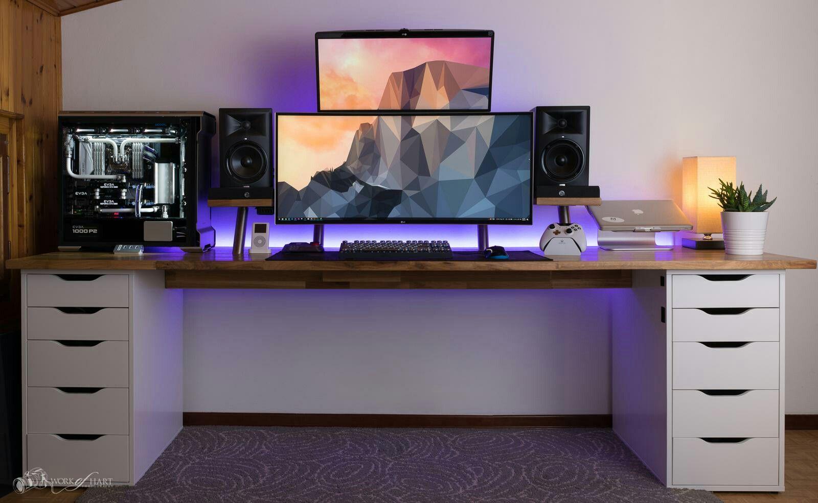 Follow Me For More Pins Appleproducts Bedroomdesign Wallpapers Menfashion Womenfashion Design K Gaming Desk Setup Home Office Setup Computer Desk Setup