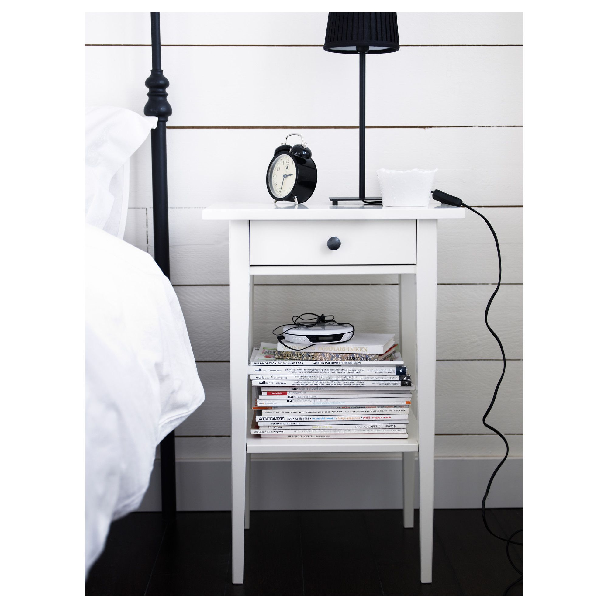 Hemnes ikea simple bedside table with drawer choice of hemnes ikea simple bedside table with drawer choice of 2 finishes white1 showing wood grain 4999 1 white lacquered finish 5999 euro watchthetrailerfo