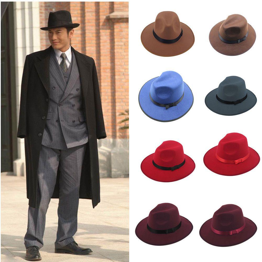 Big Size 71 2 60Cm Men Jazz Hard Felt Bowknot Fedora Panama Bowler Wide  Brim Hat 3ad866d888c