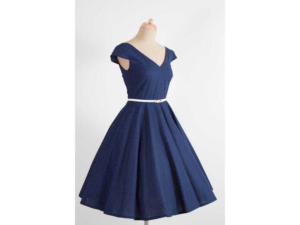 c0559f734 LOREN retro šaty tmavě modré s mini puntíkem. šaty mají V výstřih na  předním i zadním díle kolová sukně dlouhá 60 cm zip na pravé straně  materiál 100% ...