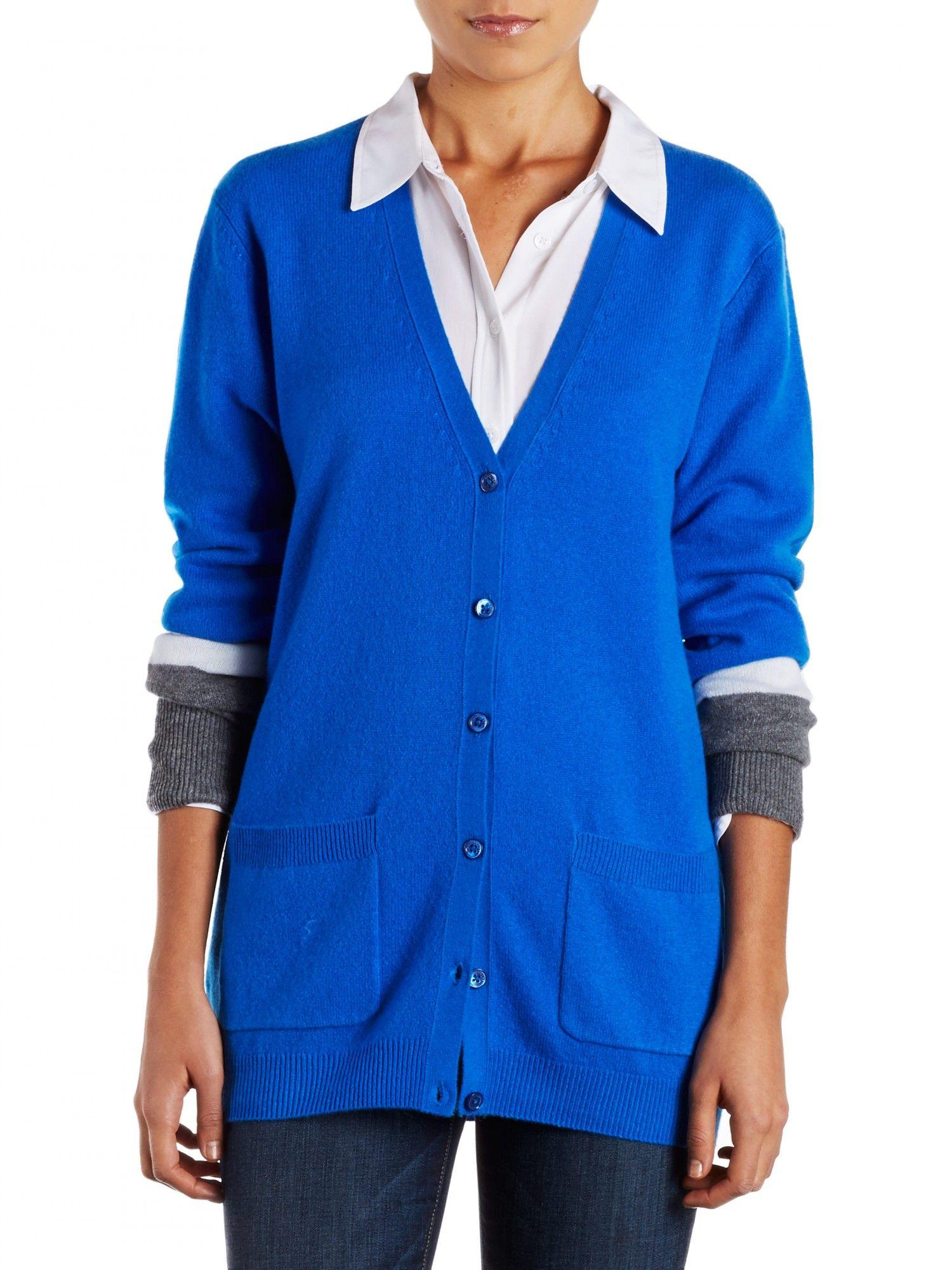 EQUIPMENT ELLA CARDIGAN in electric blue colorblock