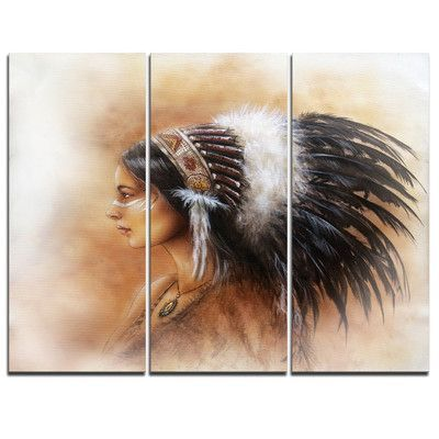 DesignArt Indian Woman in Traditional Clothing - 3 Piece Graphic Art on Wrapped Canvas Set