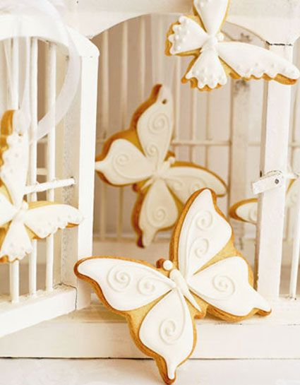 Pretty iced cookies.